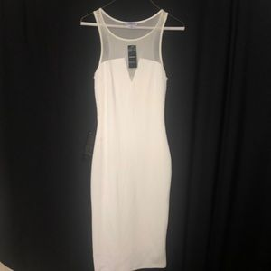 Bebe white silhouette dress in 2 textures